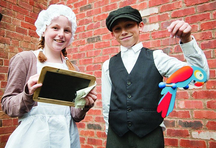 To commemorate its centenary, Moreton Morrell Primary School held a Victorian Day on Friday 21st November, with dress and classes in period style. This boy and girl showed off their latest possessions before lessons started.