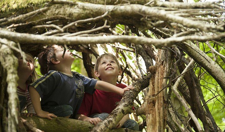 Children building a den from twigs and branches, in the grounds of Allan Bank, Grasmere, Cumbria. Once home to William Wordsworth and Canon Rawnsley, Allan Bank was rescued from the ravages of fire in 2011.