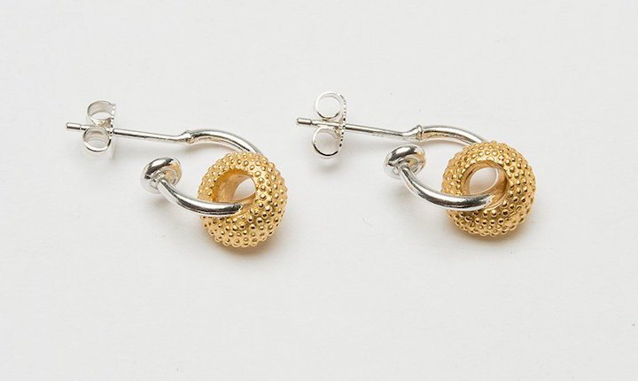 Catherine Hills Spotted-Sweetie-Hoop-Earrings---CHE36c---Polished-22ct-Gold-Plated-Silver-Sweetie-with-Silver-Hoop_1024x1024