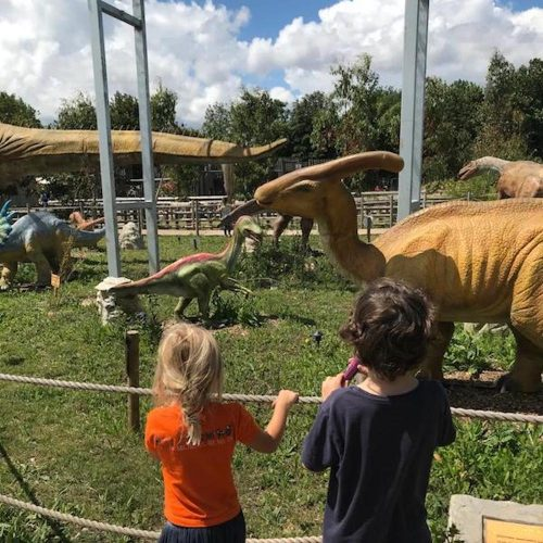 Two kids looking at dinosaurs in a Dinosaur Zoo
